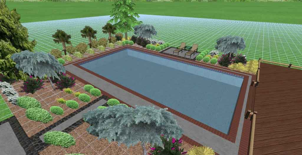 garden pool 3d drawing